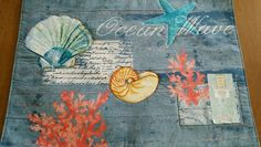 Set of 2 Coastal Nautical Fabric Placemats Ocean Wave Applique NEW #LorettaForHome