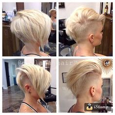 Beautiful Trendy Colors For Short Hair If you want to change the color of your hair short we offer the best coloring ideas according to the latest hair trends. Short Hair Cuts For Women, Short Hairstyles For Women, Cool Hairstyles, Short Hair Styles, Short Haircuts, Shaved Sides, Hair Today, Hair Dos, Ombre Hair