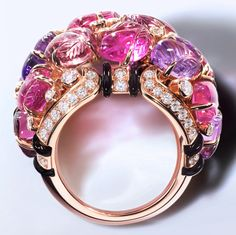 Ring with engraved stones, 18K pink gold, set with #rubellites, #amethysts, #garnets, #onyx and 69 brilliant-cut #diamonds totaling 0.99 carats.