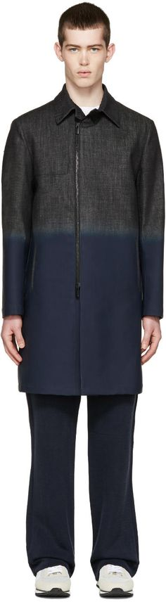 Image of Fendi Black Coated Denim Coat