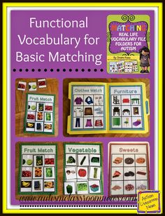 This is a set of file folders that focuses on matching picture to picture for a variety of real-life, functional items. The pictures are a combination of photographs and clip art. The set includes matching picture to picture for community signs, fruits, vegetables, fast food items, meat, sweets/desserts, furniture and clothes. It also includes word-to-picture matching for signs, fruits and vegetables. $3.50