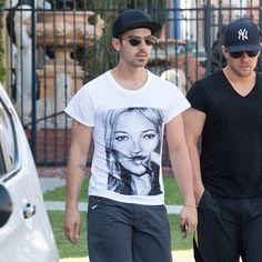 Joe Jonas in our Kamy Moustache tee #katemoss #moustace #tshirt #losangeles
