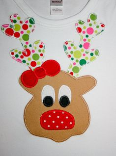 Childrens Christmas Shirt  Appliqued Reindeer Shirt for Children or Baby Tee Shirt or onesie. $25.95, via Etsy.