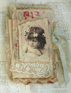 Mixed Media Fabric Collage Book of French Cherubs   eBay