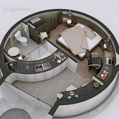 🇧🇷 Que tal uma casa redonda? 🤔/ 🇺🇲 How about a round house? 🤔/ 🇪🇸 ¿Qué tal una c… Layouts Casa, House Layouts, Tiny House Design, Modern House Design, Home Design, Design Art, Dorm Room Organization, Organization Ideas, Dome House