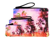 Hawaii Hangover Hawaii Print Pouches with Zipper in Patchwork Surfer Ukulele Floral