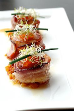 Bacon Wrapped Scallops - 48 pieces per tray Salmon Recipes, Seafood Recipes, Gourmet Recipes, Cooking Recipes, Gourmet Desserts, Plated Desserts, Cooking Kale, Cooking Fish, Gourmet Foods