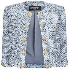 Balmain Bouclé Jacket ($3,225) ❤ liked on Polyvore featuring outerwear, jackets, blazer, coats, casacos, open front jacket, blue cotton jacket, cotton jacket, cotton lined jacket and lined jacket