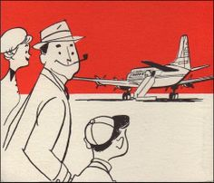 Illustration detail from a 1955 Capital Airlines brochure. Mid-century goodness!