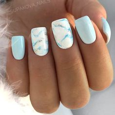 Nägel Gel funkeln 33 Examples Of Nail Designs For Short Nails To Inspire You Fancy Nails Designs, Marble Nail Designs, Short Nail Designs, Beautiful Nail Designs, Light Blue Nail Designs, Blue Nails With Design, Square Nail Designs, Latest Nail Designs, New Nail Art Design