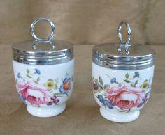 Royal Worcester Bournemouth Vintage egg coddler Standard pair set of 2 floral #RoyalWorcester