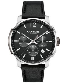 COACH MEN'S CHRONOGRAPH BLEECKER BLACK LEATHER STRAP WATCH 42MM 14602014, ONLY AT MACY'S - Men's Watches - Jewelry & Watches - Macy's