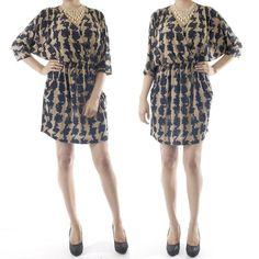 ebclo - Geometrical Printed Dolman Sleeve Mini Dress  $28.00 Free Domestic Shipping