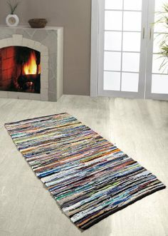 100% Recycled Cotton Chindi Rug/Runner Multi Coloured Stripes