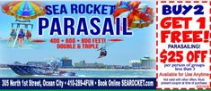 Sea Rocket Buy 2 Get 1 Free Parasailing. Ocean City Md, Parasailing, Speed Boats, Amazing Adventures, Vacation Ideas, Books Online, Coupons, Cruise, Coast