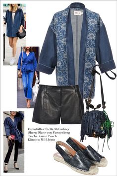 How to wear MiH Kimono Jacke: #MiHJeans  Short: #DianevonFurstenberg  Tasche: #JaminPuech  Espadrilles: #StellaMcCartney   #Vintage    #Clothes   #Fashion   #Secondhand   #MyMInt