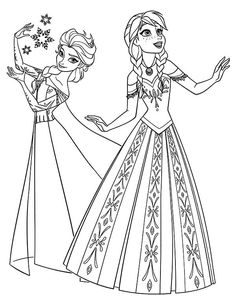 Two beautiful princesses of Arendelle: Elsa and Anna. Disney Frozen coloring page. Make your world more colorful with free printable coloring pages from italks. Our free coloring pages for adults and kids. Frozen Coloring Pages, Disney Princess Coloring Pages, Disney Princess Colors, Disney Colors, Christmas Coloring Pages, Coloring Pages To Print, Free Printable Coloring Pages, Coloring Pages For Kids, Free Coloring