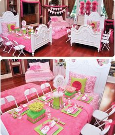 Adorable Pink Preppy Girls Party Tables out of Beds, Who Needs Sleep Girls Sleepover Idea