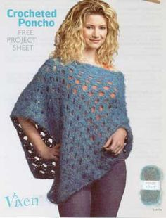 crocheted poncho - guess I better learn how to crochet more than a scarf if I want one of these.