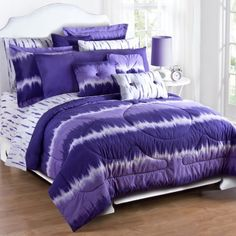 Purple Tie Dye Comforter and Sham Set - Full by Karin Maki. $81.99. Purple Tie Dye Comforter and Sham Set - Full. Fabric is cotton polyester blend.. Includes: (1) Comforter, (2) Standard Shams.. Purple Tie Dye Comforter and Sham Set - Full Includes: (1) Comforter, (2) Standard Shams. Fabric is cotton polyester blend. This item does not include all products shown in image. Sheets, pillows, and valances sold separately.. From the Purple Tie Dye Bedding Collection by Kimlor. Thi...
