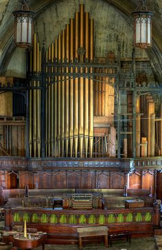Organ, abandoned church, Detroit, Michigan
