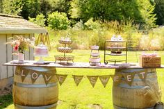 Bridal Shower--love the bunting on the sweets table!