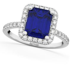 Allurez Blue Sapphire & Diamond Engagement Ring 18k White Gold... ($4,865) ❤ liked on Polyvore featuring jewelry, rings, diamond band ring, band rings, white gold rings, diamond cocktail rings and engagement rings