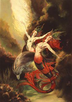 Fantasy Art By Boris Vallejo & Julie Bell Julie Bell, Boris Vallejo, Magical Creatures, Fantasy Creatures, Sea Creatures, Bell Art, Mermaid Fairy, Mermaid Mermaid, Vintage Mermaid