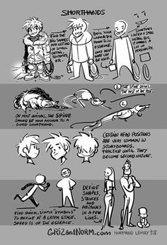 """Photo: Tips for shorthand sketching, useful for storyboarding & thumbnailing. """"Leave all details aside and find the essence of a character.""""  From Normand Lemay: http://tmblr.co/ZyTSDo1MmPrUI"""
