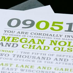Custom fresh wedding invitation design by Paperwhites (paperwhites-invitations.com) #gray #lime #modern