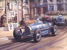 """""""Short Lived Glory"""" by Michael Turner. Guy Moll, in his Alfa Romeo, won at Monaco in in his race for Scuderia Ferrari. Bugatti, Maserati, Lamborghini, Michael Turner, Vintage Racing, Vintage Cars, Antique Cars, Art Deco Posters, Car Posters"""