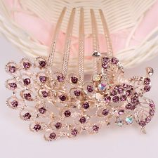 Women 9K Gold Filled Amethyst  Austrian Crystal Leafage Hair Pin Comb Clip F048