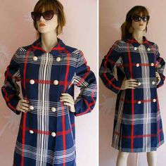 Preppy Plaid MOD Girl Vintage 1960s FRANK R by gracevintage, $128.00