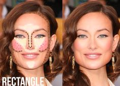 Highlight and Contour Makeup Guide for Rectangle face shape
