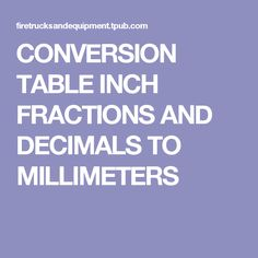CONVERSION TABLE INCH FRACTIONS AND DECIMALS TO MILLIMETERS Angle Calculator, Fractions, Panel Doors, Conversation, Charts, Table, Aquarium, Graphics, Graph Of A Function