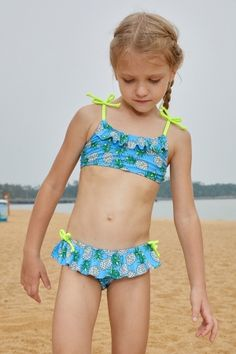 7e9f973fcc44b Pineapple Print Little Girls Bikini with Shoulder Straps