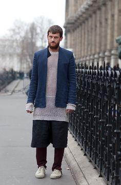On the street, Paris. Via the sartorialist Men Street, Street Wear, Knit Fashion, Mens Fashion, Street Style Boy, Man Skirt, Collarless Jacket, Damir Doma, Thing 1
