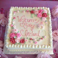 Ideas For Birthday Cake Girls Buttercream Baby Shower Birthday Sheet Cakes, Birthday Cake Girls, Birthday Ideas, Pretty Cakes, Beautiful Cakes, Pastel Rectangular, Baby Shower Sheet Cakes, Easy Baby Shower Cakes, Baby Shower Cake For Girls
