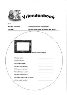 Vriendenboek - stelopdracht voor groep 4/5 of 6 Primary School, Prompts, Spelling, Literacy, Writing, Kids, Kid, Writing Paper, Writing Fonts