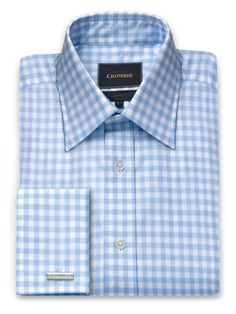 Blue And White Gingham Check Shirt, Classic Fit