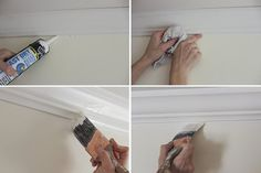 How to install crown molding easily and without error using corner angle templates. Tips on scarf joints and the proper way to 'cut in' when painting. Cut Crown Molding, Moulding, Installing Wainscoting, Baseboard Styles, Recessed Medicine Cabinet, Moldings And Trim, Baseboards, Beautiful Kitchens, Shadow Box