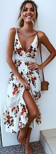 #winter #outfits white and red floral print spaghetti strap dress