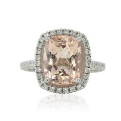 Cushion cut Morganite Ring with Diamond Halo and Filigree - LS4758