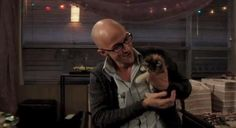 dean pelton with a kitty
