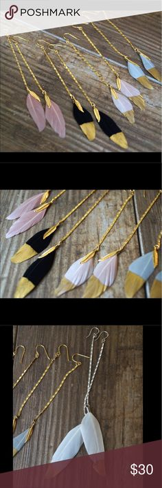 "Feather Earrings. Gold dipped gorgeous These earrings are gorgeous. Long and flowy. Beautiful gold dipped feathers. Approx 6""long each. So incredibly pretty. 18k gold plated chains, or Silver plated chains. Designed and made in California with love ❤️ Function & Fringe Jewelry Earrings"