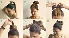 Chongo con moño. Encuentra más peinados en http://www.1001consejos.com/