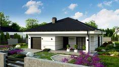 Projekt domu Z443 Współczesny, przytulny dom parterowy z wydzieloną sypialnią główną od ogrodu Home Interior Design, Shed, Farmhouse, Outdoor Structures, Dom, Outdoor Decor, Projects, Home Decor, Houses