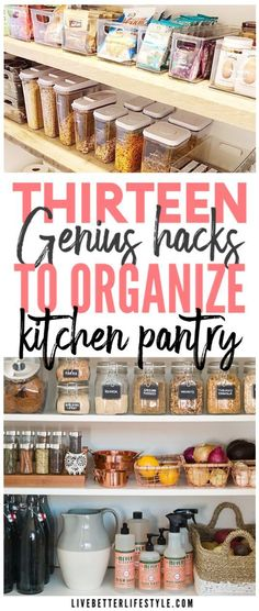 Looking for a way to organize and declutter your pantry so that you can find things easier? Check out these hacks to help you with that! #kitchen #pantry #ideas #hacks #organize