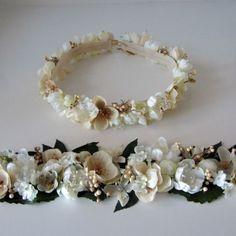 conjunto corona beige + cinturón ancho beige