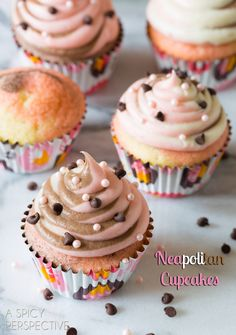 Neapolitan Cupcakes  Whimsical Creamy Neapolitan Cupcakes will take you right back to childhood! When you can't decide between chocolate, strawberry and vanilla, why not have all three?